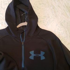 UA black men's quarter zip hoodie